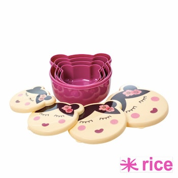 Rice Plastic lunchbox m assorted faces set of 4