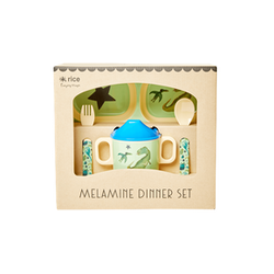 Rice Melamine baby dinner set dino print 4pcs in gift box