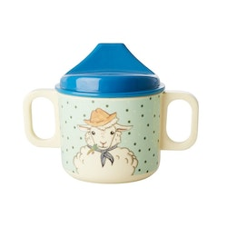 Rice baby two handle Cup with Farm Animal Green