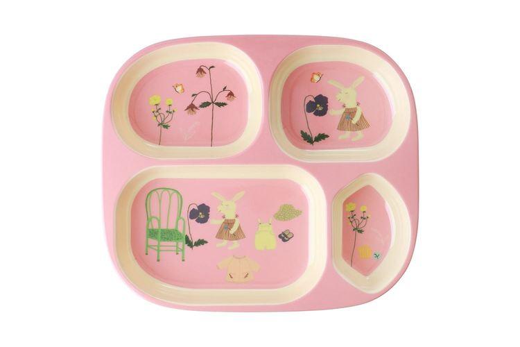 Rice Melamine Kids 4 room plate Pink