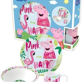 Barnesett i keramikk 3 deler, Peppa Pig
