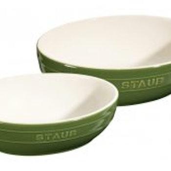 Staub Bowl sett ceramicbasil grønn oval  23 og 27 cm