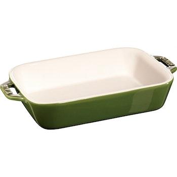 Staub Ovnform 34x24cm rek ceramic green
