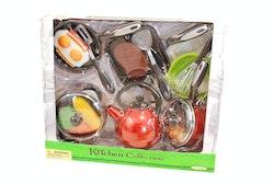 Köksset med mat & kastruller 18-delar