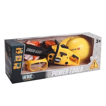 WRK, Batteridriven motorsåg med hjälm och handskar