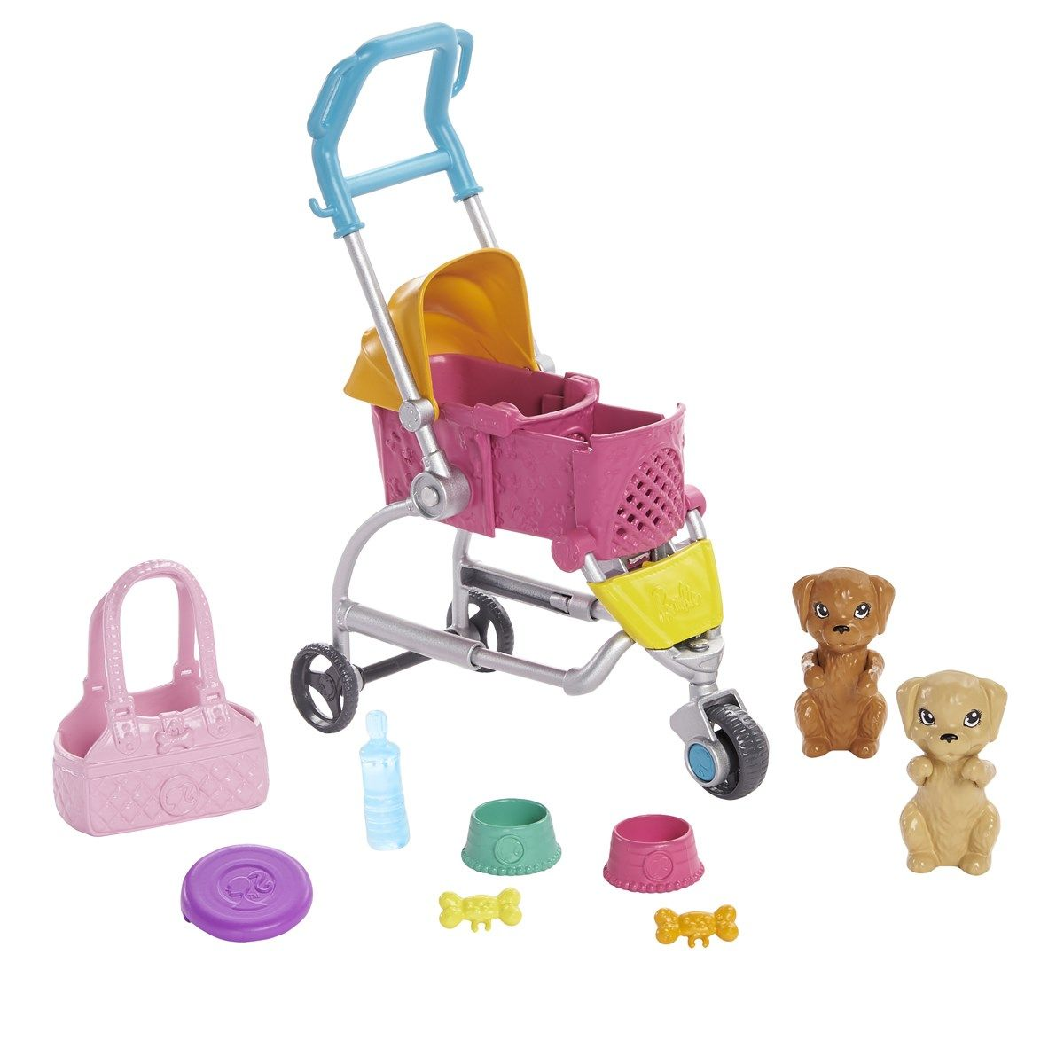 Barbie, Stroll & Play Pups Doll and Accessories