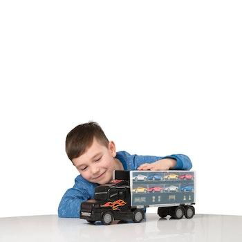 Transportbil 45 cm med 8 bilar