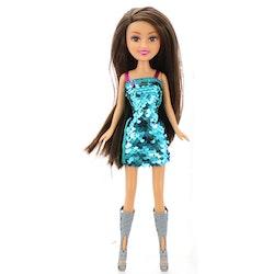 Sparkle Girlz Docka med blå/rosa glitterklänning med garderob som väska