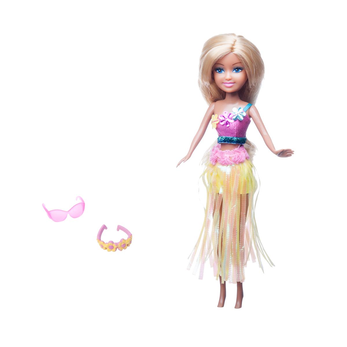 Sparkle Girlz Hawaiidocka med accessoarer Gul klänning