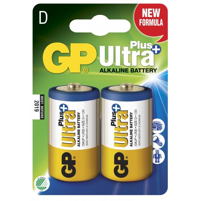 GP Batteri D Ultra Plus - 2 st