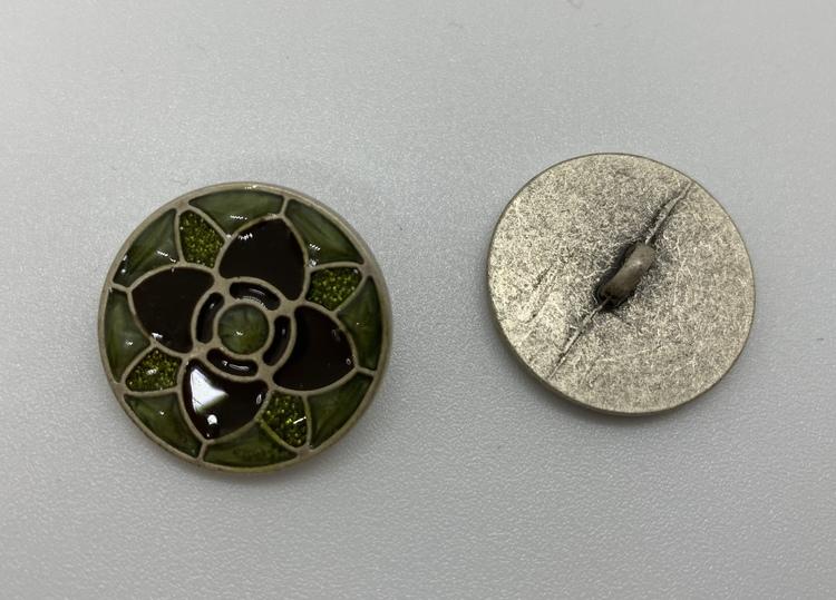 23mm Grön metall/emalj