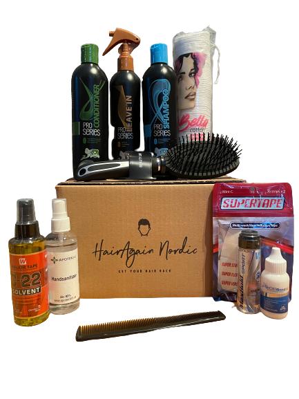 Startpaketet med allt du behöver! Här ingår allt du behöver för att installera, ta av och underhålla ditt hårsystem.