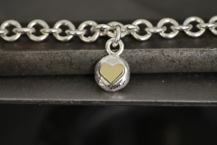 HEAVY CHAIN - Silverarmband med hjärtberlock