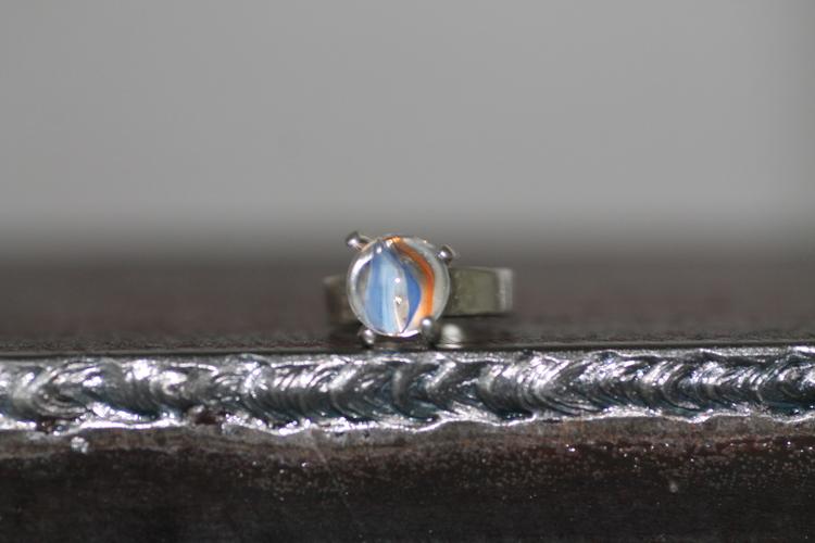 MARBLE SMALL - Silverring med liten pottekula