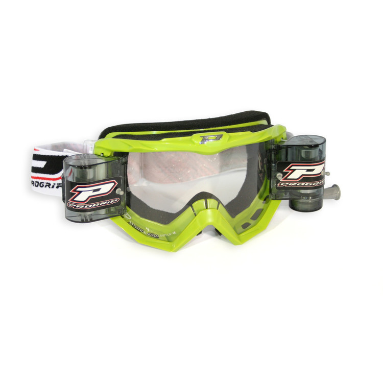 PRO GRIP GOGGLES MX/ENDURO WITH ROLL OFF GREEN 3208 LENS CLEAR
