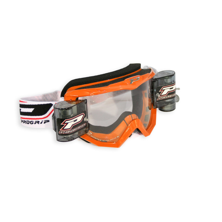 PRO GRIP GOGGLES MX/ENDURO WITH ROLL OFF ORANGE 3208 LENS CLEAR