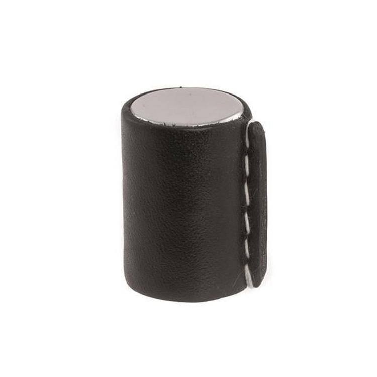 Linfalk Knopp Blank Krom / Svart läder
