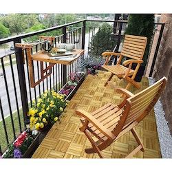 Interbuild Real Wood Balkongbord & Casino Trädgårdsfåtölj Set