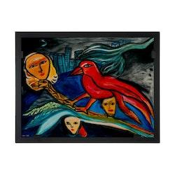 Glasvision Glastavla Red Bird