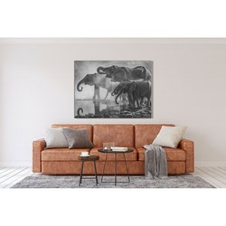 Estancia Tavla Canvas Elephants by Water