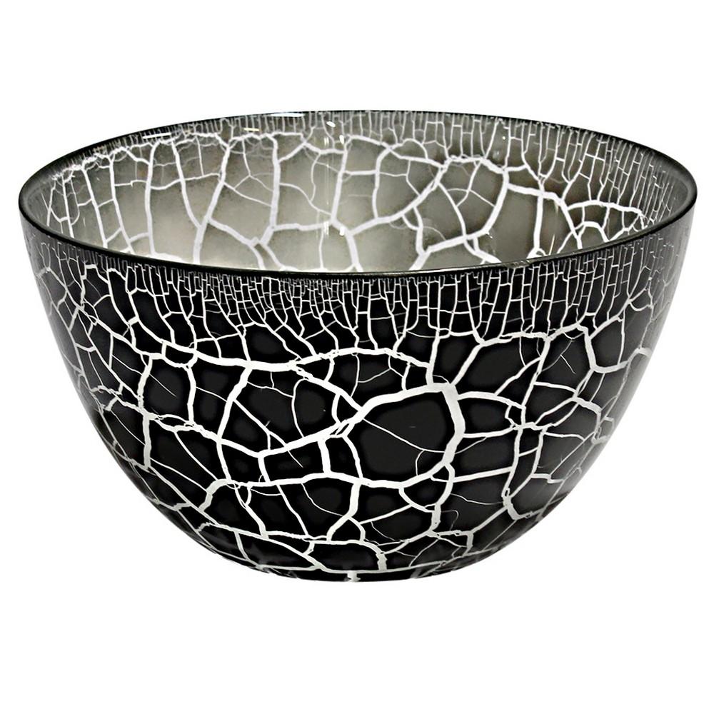 Nybro Crystal Skål Croco Svart/Silver
