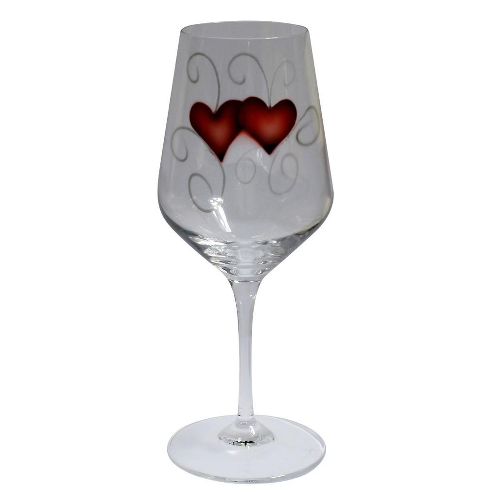 Nybro Crystal Vinglas Heart Crystal Ink 35 cl 2-pack