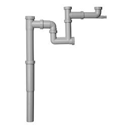 Contura Steel Vattenlås för dubbellåda med teleskopsrör, T-förbindning