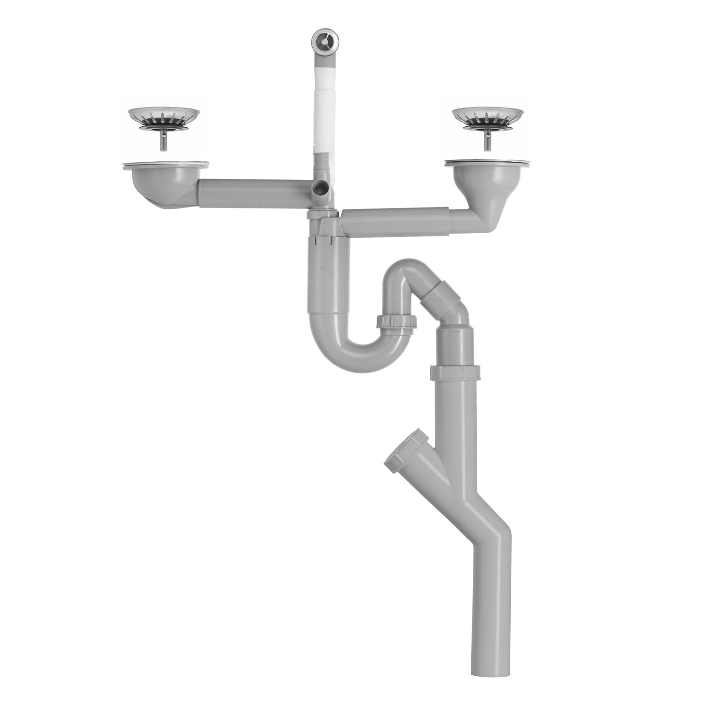 Contura Steel Vattenlås för dubbellåda med korgventil