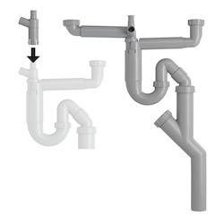 Contura Steel Vattenlås för dubbellåda med korgventil och flexislang