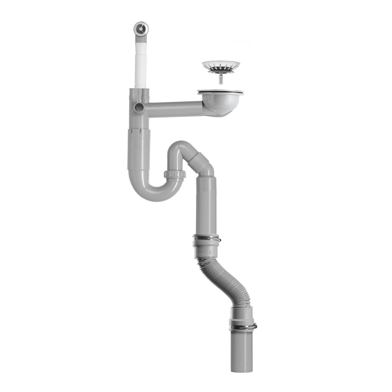 Contura Steel Vattenlås för enkellåda med korgventil och stretchslang