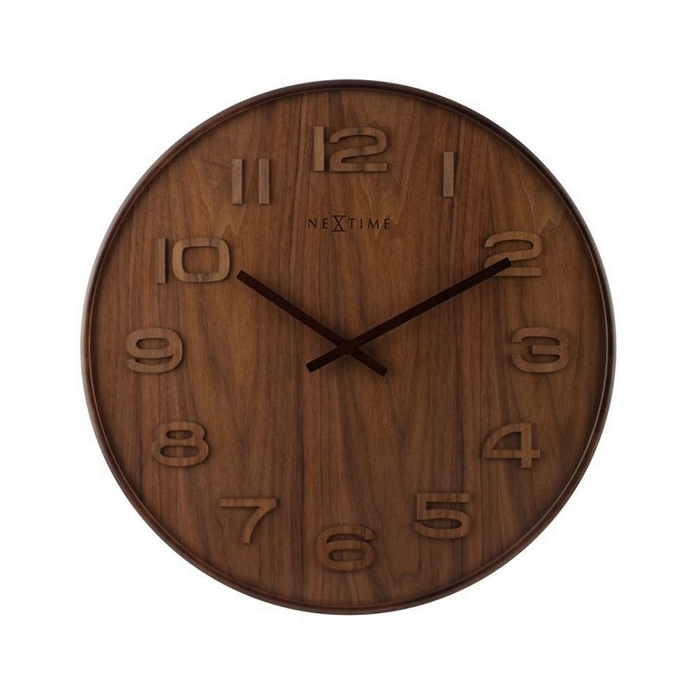 NeXtime Väggklocka Wood Wood Brun/Trä