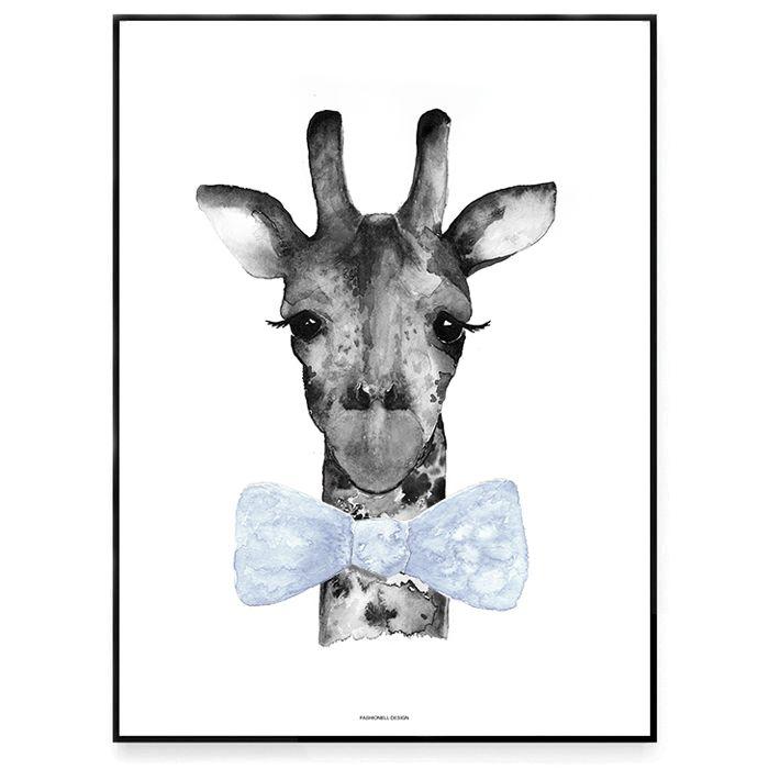 Fashionell A4 Mr Giraff blå utan ram