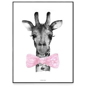 Fashionell A4 Mr Giraff rosa utan ram