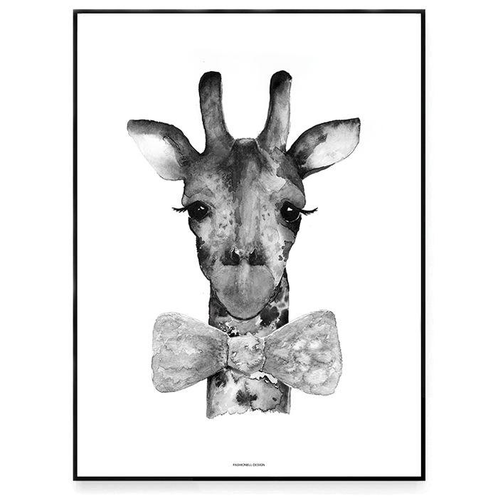Fashionell A4 Mr Giraff vit utan ram