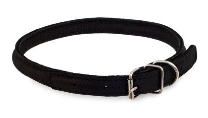 Rundsytt halsband i läder