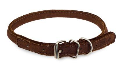 Rundsytt läder halsband
