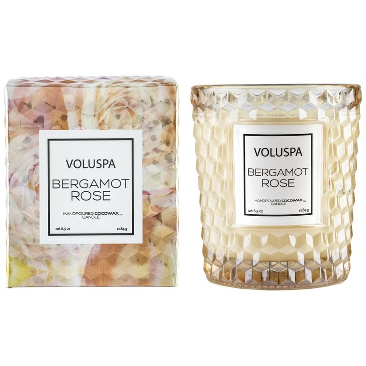 Voluspa - Bergamot Rose Textured Glass Candle 40tim