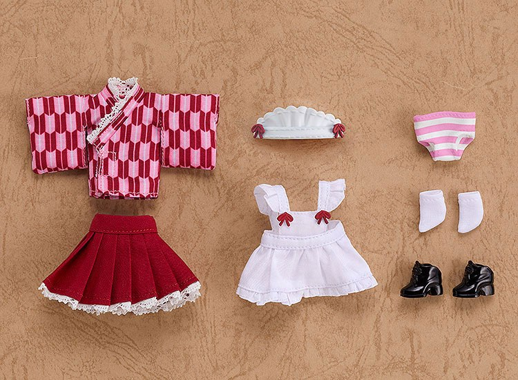 Original Character Parts for Nendoroid Doll Figures Outfit Set Japanese-Style Maid Pink