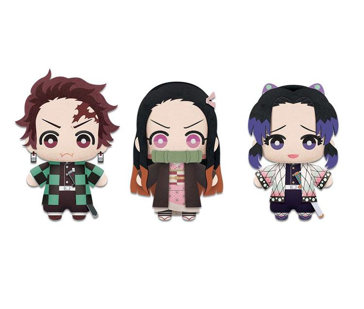 3x Demon Slayer Kimetsu no Yaiba Tomonui Plush Figures - Tanjiro, Nezuko & Shinobu (Banpresto)