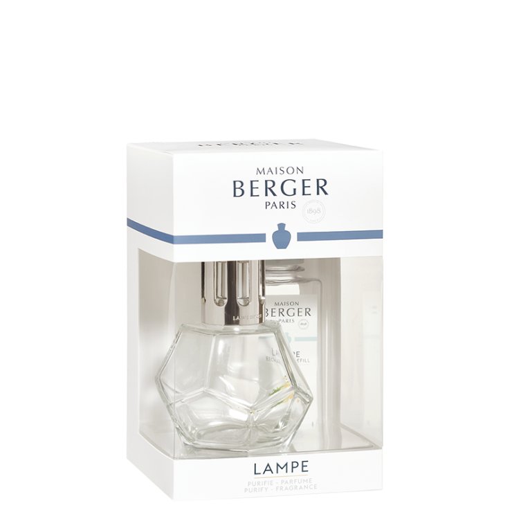 Katalytisk doftlampa Geometry Transparante giftset, doft Zest of Verbena- Maison Berger (Lampe Berger)Paris