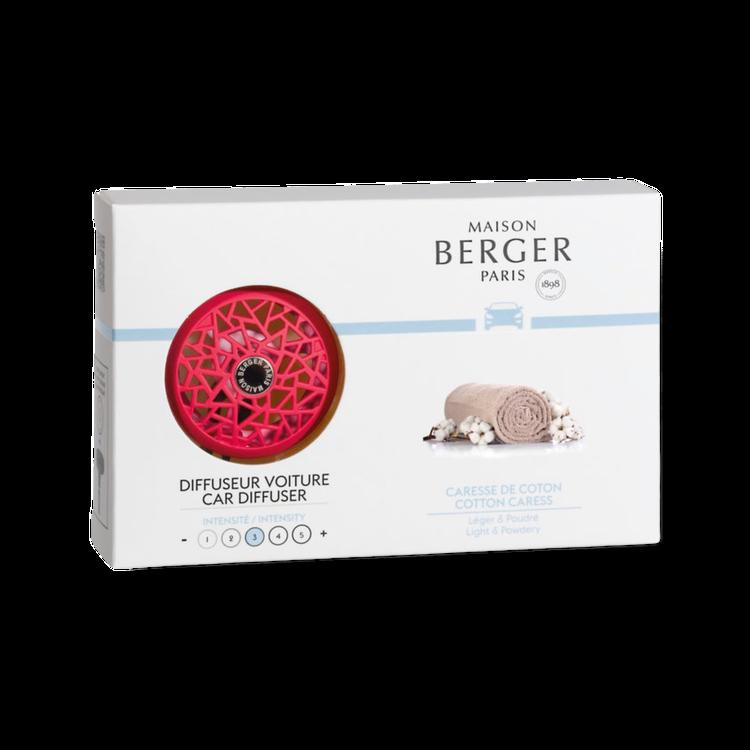 Raspberry bildoftshållare med doftpuck cotton Caress från Maison Berger Paris!