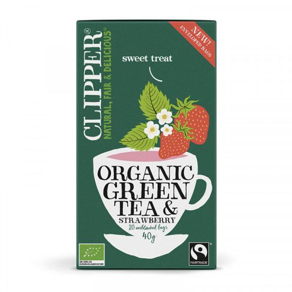 Grönt te med jordgubssmak