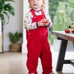 Hängselbyxor i ekologiska bomull- Röda 18mån-5år