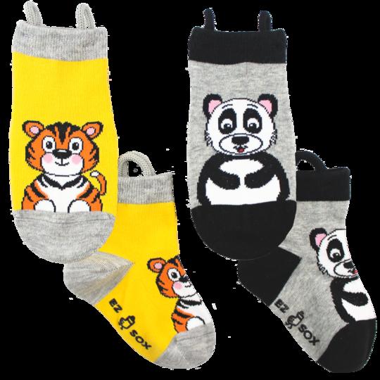 Barnstrumpor mönstrade tiger och panda - Ezsox