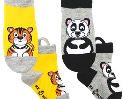 Ezsox barnstrumpor - Tiger/panda 2-pack (19-22 samt 31-34)