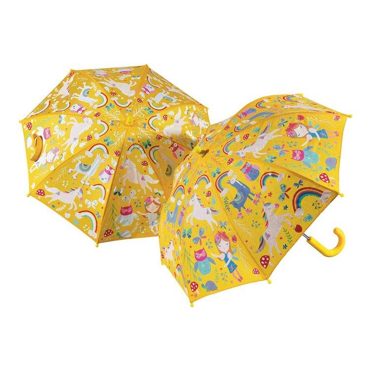 Paraply för barn gult med magiska djur - ändrar färg när det regnar