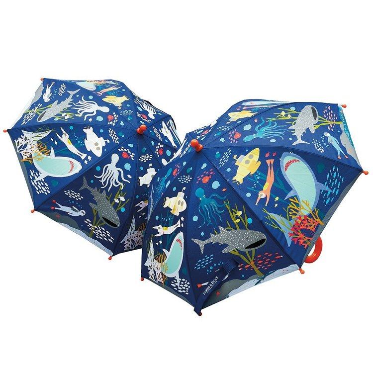 Paraply för barn mönstrat med hajar - färgskiftande