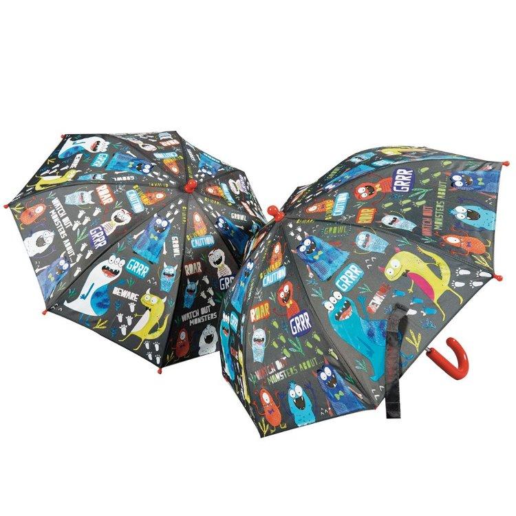 Paraply för barn färgskiftande med monster