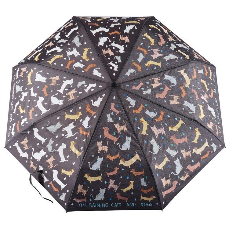 Paraply mönstrat med hundar och katter - ändrar färg vid regn