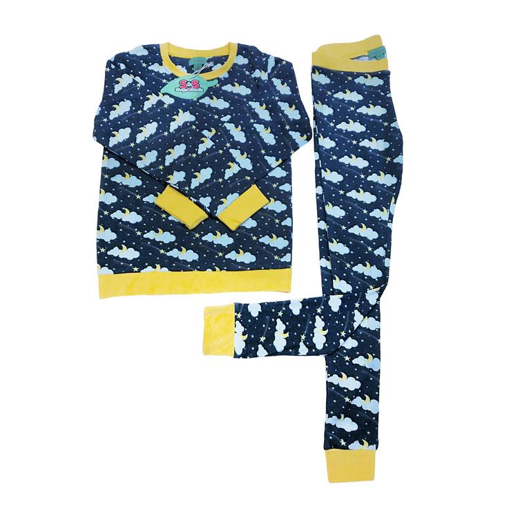 Pyjamas för barn stjärnhimmel ekologisk bomull